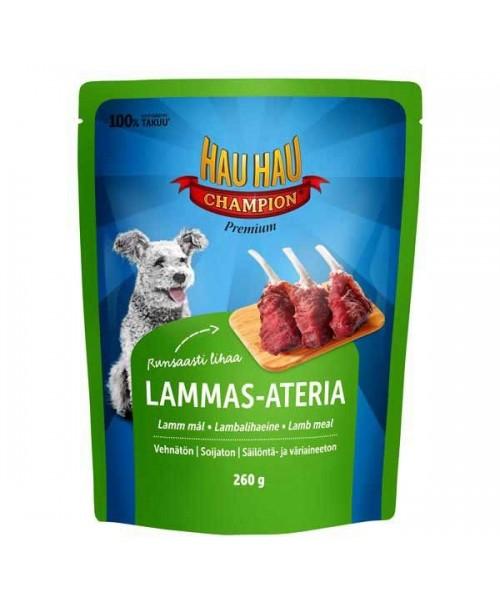HAU-HAU CHAMPION konservuotas šunų ėdalas  su ėriena, 260 g