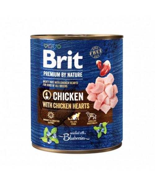 Brit Premium by Nature kons. šunims Chicken with Hearts 800g