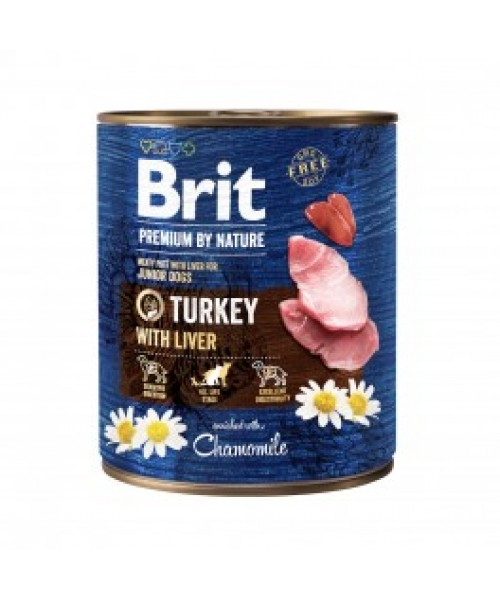 Brit Premium by Nature kons. šunims Turkey with Liver 800g