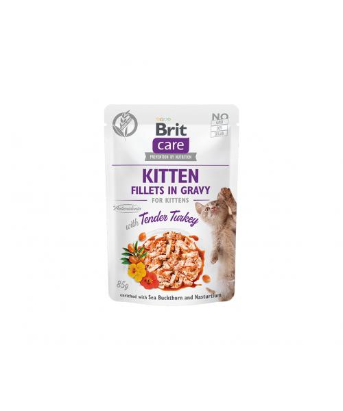 Brit Care Cat konservai kačiukams Fillets in Gravy Turkey 85 g