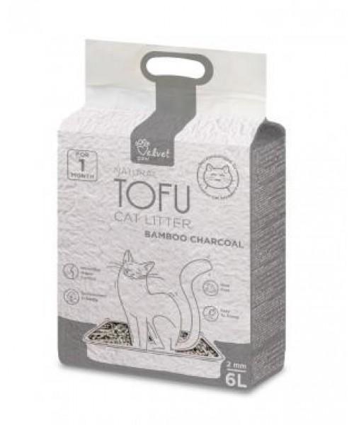 Velvet Paw Tofu kačių kraikas su bambuko anglimi, 2 mm granulės, 6 l