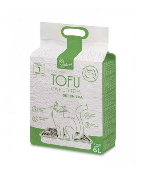 Velvet Paw Tofu kačių kraikas su žaliosios arbatos ekstraktu, 2 mm granulės, 6 l.